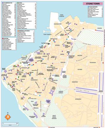 Mappa di Stone Town-Zanzibar
