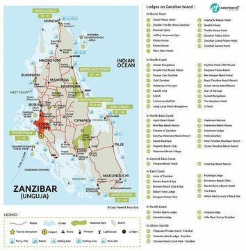 Mappa di Unguja-Zanzibar