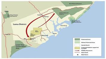 Lamu-Kiunga Map