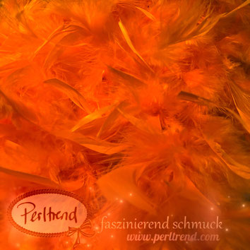 www.perltrend.com Perltrend Luzern Schweiz Onlineshop Schmuck Perlen Accessoires Federboas Federboa Federn Feder Boa Dekoration Fasnacht Hochzeit Party Highlight nähen kreativ basteln orange