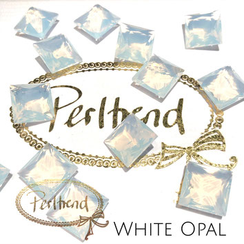 www.perltrend.com Swarovski Crystal Elements original Crystals Perltrend Luzern Schweiz Onlineshop Schmuck Jewellery Schmuckverarbeitung facettet facettierte Cabochons Crystal facettiert Fancy Stones Princess Square 4447 12 mm White opal