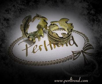 www.perltrend.com Fingerschmuck antikgoldfarben Feder