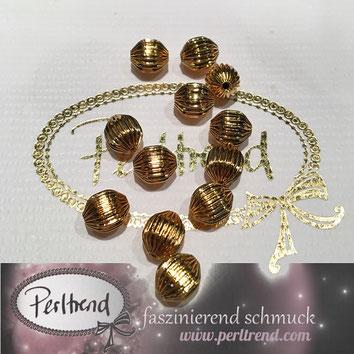 www.perltrend.com Perltrend Luzern Schweiz Onlineshop Schmuck Jewellery Jewelry Perlen Pearls Accessoires basteln Schmuckdesign DIY Schmuckverarbeitung Perlen goldfarben gold golden Rillen Rillenperlen  8mm