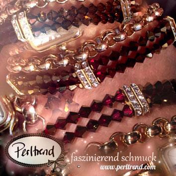 www.perltrend.com Armband Bracelet TwoRows Topaz Siam Dorado