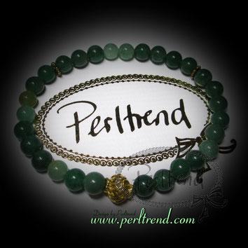 www.perltrend.com Armschmuck grün gold  Edelsteine Aventurin Avengrenelle