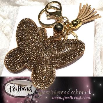 www.perltrend.com Anhänger Schlüsselanhänger Dekoration Pendant golden beige gold Schmetterling butterfly butterflies papillon funkelnd Crystals Highlight Perltrend Luzern Schweiz Schmuck Onlineshop Jewellery Geschenke
