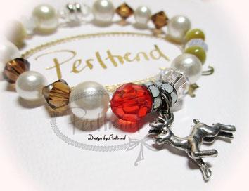 www.perltrend.com Armschmuck Weiss braun beige rot Bracelet Armband Schmuck Jewellery Jewelry Rudolph nose reindeer Renntier Winter Weihnacht Luzern Schweiz Perltrend Onlineshop Swarovski Crystals