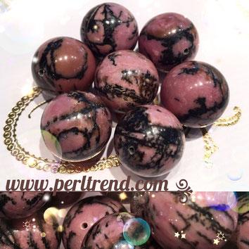 www.perltrend.com Edelsteine Gemstones Steine Perlen Heilsteine Schmuck Schmuckdesign Perltrend Luzern Schweiz Onlineshop Rhodonit rosa schwarz pink Edelsteinperlen