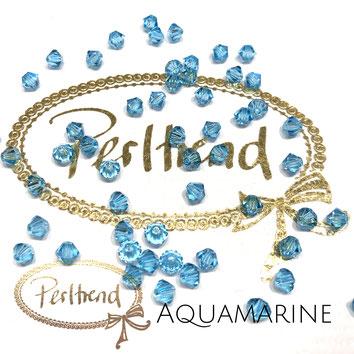 Perltrend www.perltrend.com Luzern Schweiz Onlineshop Schmuck Perlen Swarovski Crystals Bicone beads bead Doppelkegel 4 mm Aquamarine