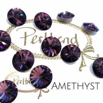 Perltrend Luzern Schweiz Onlineshop Schmuck Perlen Accessoires Verarbeitung Design Swarovski Crystals Crystal original Rivoli Chaton Round Stone Crystal facettiert Amethyst 14 mm