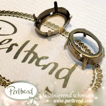 www.perltrend.com Luzern Schweiz Onlineshop Schmuck Jewellery Jewelry Design Style Schmuckdesign Fassung oval Swarovski Crystals antik goldfarben gold