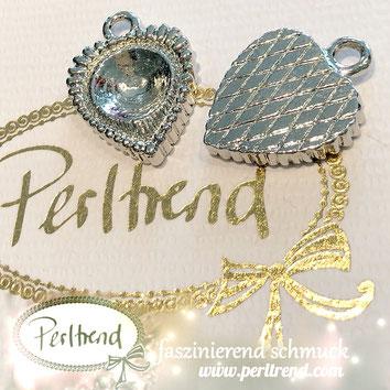 www.perltrend.com Luzern Schweiz Onlineshop Schmuck Jewellery Jewelry Design Style Schmuckdesign Fassung Rund Swarovski Crystals Herz Anhänger