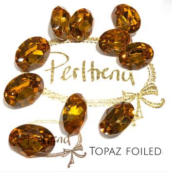 Perltrend Luzern Schweiz Onlineshop Schmuck Perlen Accessoires Verarbeitung Design Swarovski Crystals Crystal original  Fancy Stone oval 18 mm Topaz facettiert