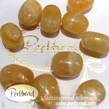 www.perltrend.com Edelsteine Gemstones Steine Perlen Heilsteine Schmuck Schmuckdesign Perltrend Luzern Schweiz Onlineshop Calcit orange gelb dunkelgelb Tommel Trommelstein 15 - 20 mm