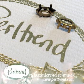 www.perltrend.com Luzern Schweiz Onlineshop Schmuck Jewellery Jewelry Design Style Schmuckdesign Fassung Navette Swarovski Crystals antik goldfarben