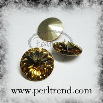 www.perltrend.com Swarovski Crystal Elements original Crystals Perltrend Luzern Schweiz Onlineshop Schmuck Jewellery Schmuckverarbeitung facettet facettierte Crystal Chaton Round Stones Rivoli 1122 14 mm Light Colorado Topaz