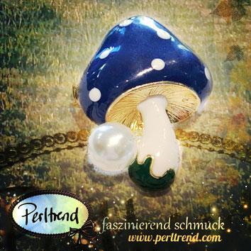 www.perltrend.com ansteckschmuck Brosche brooch Pilz Mushroom Toadstool  Autumn Perltrend  Luzern Schmuck Schweiz Onlineshop Jewellery Jewelry blau weiss glückspilz