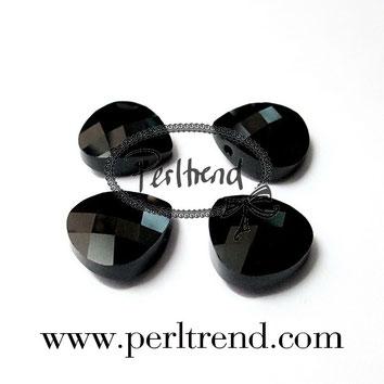 Perltrend Luzern Schweiz Onlineshop Schmuck Perlen Accessoires Verarbeitung Design Swarovski Crystals Crystal original Briolette Flat Pear Pendant Anhänger Jet schwarz 14 mm