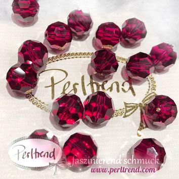 www.perltrend.com Perltrend Luzern Schweiz Onlineshop Perlen Schmuck Accessoires original Swarovski Crystals Crystal facet bead facettiert rund Ruby dunkelrosa rosa pink