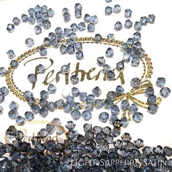 Perltrend www.perltrend.com Luzern Schweiz Onlineshop Schmuck Perlen Swarovski Crystals Bicone beads bead Doppelkegel 4 mm Light Sapphire Satin