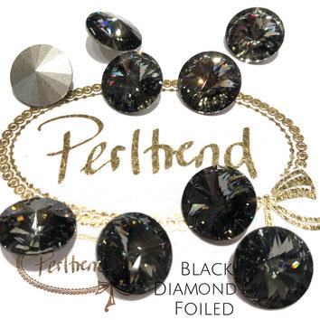 Perltrend Luzern Schweiz Onlineshop Schmuck Perlen Accessoires Verarbeitung Design Swarovski Crystals Crystal original Rivoli 1122 Chaton Round Stone Crystal facettiert Black Diamond 14 mm