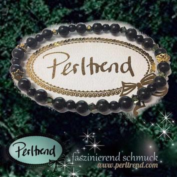 www.perltrend.com Armschmuck grün gold  Edelsteine grüner Goldfluss Green Night Stars