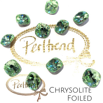 Perltrend Luzern Schweiz Onlineshop Schmuck Perlen Accessoires Verarbeitung Design Swarovski Crystals Crystal original Fancy Stones Cabochons Round Square Cushion 4470 12 mm Chrysolite hellgrün