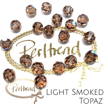 www.perltrend.com Perltrend Luzern Schweiz Onlineshop Perlen Schmuck Accessoires original Swarovski Crystals Crystal 5000 facet bead facettiert rund 8 mm Light Smoked Topaz