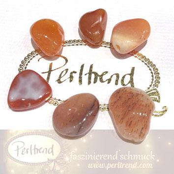 www.perltrend.com Edelsteine Gemstones Steine Perlen Heilsteine Schmuck Schmuckdesign Perltrend Luzern Schweiz Onlineshop  Karneol orange
