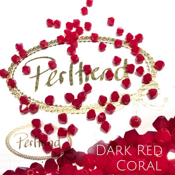 Perltrend www.perltrend.com Luzern Schweiz Onlineshop Schmuck Perlen Swarovski Crystals Bicone beads bead Doppelkegel Dark Red Coral rot Korallenrot dunkel