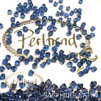 Perltrend www.perltrend.com Luzern Schweiz Onlineshop Schmuck Perlen Swarovski Crystals Bicone beads bead Doppelkegel 4 mm Sapphire Satin