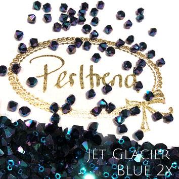 Perltrend www.perltrend.com Luzern Schweiz Onlineshop Schmuck Perlen Swarovski Crystals Bicone beads bead Doppelkegel 4 mm Jet Glacier Blue 2x