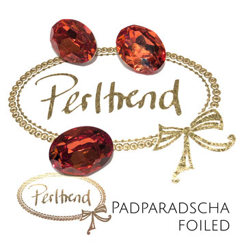 Perltrend Luzern Schweiz Onlineshop Schmuck Perlen Accessoires Verarbeitung Design Swarovski Crystals Crystal original  Fancy Stone oval 18 mm facettiert Padparadscha