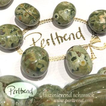 www.perltrend.com Edelsteine Gemstones Steine Perlen Heilsteine Schmuck Schmuckdesign Perltrend Luzern Schweiz Onlineshop Rhyolith grün Trommelstein