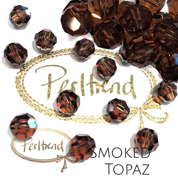 www.perltrend.com Perltrend Luzern Schweiz Onlineshop Perlen Schmuck Accessoires original Swarovski Crystals Crystal 5000 facet bead facettiert rund 10 mm Smoked Topaz