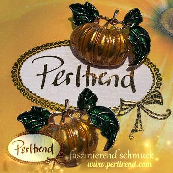www.perltrend.com ansteckschmuck brosche brooch Kürbis Pumpkin orange grün green golden Herbst Autumn Perltrend  Luzern Schmuck Schweiz Onlineshop Jewellery Jewelry