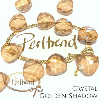 Perltrend Luzern Schweiz Onlineshop Schmuck Perlen Accessoires Verarbeitung Design Swarovski Crystals Crystal original Briolette Flat Pear Pendant Anhänger Crystal Golden Shadow 14 mm