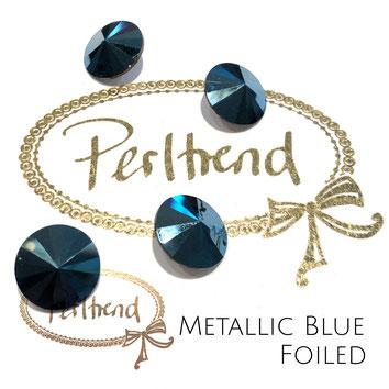 www.perltrend.com Swarovski Crystal Elements original Crystals Perltrend Luzern Schweiz Onlineshop Schmuck Jewellery Schmuckverarbeitung facettet facettierte Crystal Chaton Round Stones Rivoli 1122 Metallic Blue 14 mm