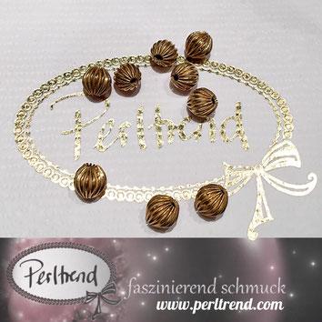 www.perltrend.com Perltrend Luzern Schweiz Onlineshop Schmuck Jewellery Jewelry Perlen Pearls Accessoires basteln Schmuckdesign DIY Schmuckverarbeitung Perlen goldfarben gold golden Rillen Rillenperlen  6mm