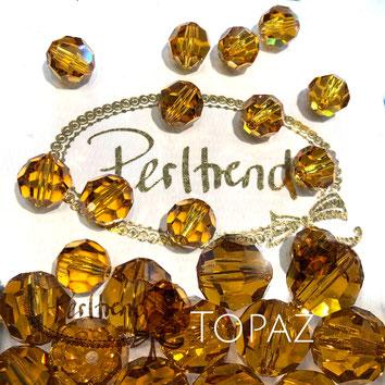www.perltrend.com Perltrend Luzern Schweiz Onlineshop Perlen Schmuck Accessoires original Swarovski Crystals Crystal 5000 facet bead facettiert rund 10 mm Topaz