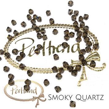 Perltrend www.perltrend.com Luzern Schweiz Onlineshop Schmuck Perlen Swarovski Crystals Bicone beads bead Doppelkegel 4 mm Smoky Quartz