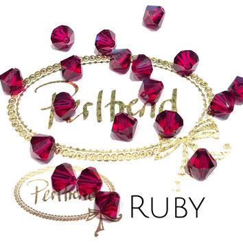 Perltrend www.perltrend.com Luzern Schweiz Onlineshop Schmuck Perlen Swarovski Crystals Bicone beads bead Doppelkegel 8 mm Ruby