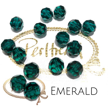 www.perltrend.com Perltrend Luzern Schweiz Onlineshop Perlen Schmuck Accessoires original Swarovski Crystals Crystal 5000 facet bead facettiert rund Emerald grün green  10 mm