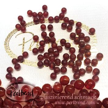 www.perltrend.com Edelsteine Gemstones Steine Perlen Heilsteine Schmuck Schmuckdesign Perltrend Luzern Schweiz Onlineshop  Karneol rot orangerot rund 4 mm