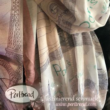 www.perltrend.com Perltrend Luzern Schweiz Schmuck Mode Accessoires Schal Tücher Foulard  Muster  Paris Stadt Love City Style