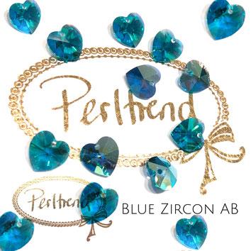 Perltrend www.perltrend.com Luzern Schweiz Onlineshop Schmuck Perlen Swarovski Crystals Pendant Pendants Anhänger heart Herz 10 mm Blue Zircon AB Aurore Boreale