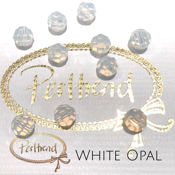 www.perltrend.com Perltrend Luzern Schweiz Onlineshop Perlen Schmuck Accessoires original Swarovski Crystals Crystal facet bead facettiert rund  white opal weiss
