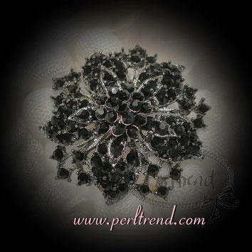 www.perltrend.com Ansteckschmuck Broschen schwarz / anthrazit Magic Black Crystal Flower Perltrend Luzern Schweiz
