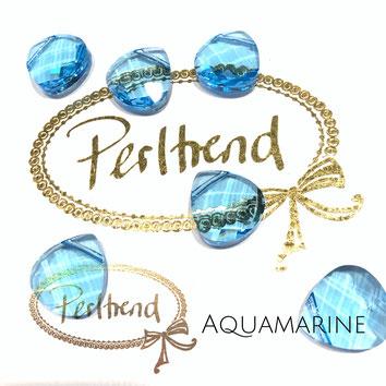 Perltrend Luzern Schweiz Onlineshop Schmuck Perlen Accessoires Verarbeitung Design Swarovski Crystals Crystal original Aquamarine Briolette Flat Pear Pendant Anhänger