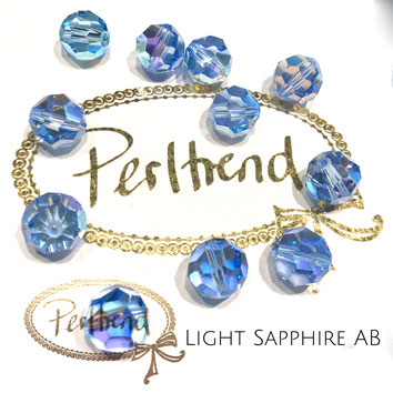 www.perltrend.com Perltrend Luzern Schweiz Onlineshop Perlen Schmuck Accessoires original Swarovski Crystals Crystal 5000 facet bead facettiert rund 10 mm Light Sapphire AB Aurore Boreale